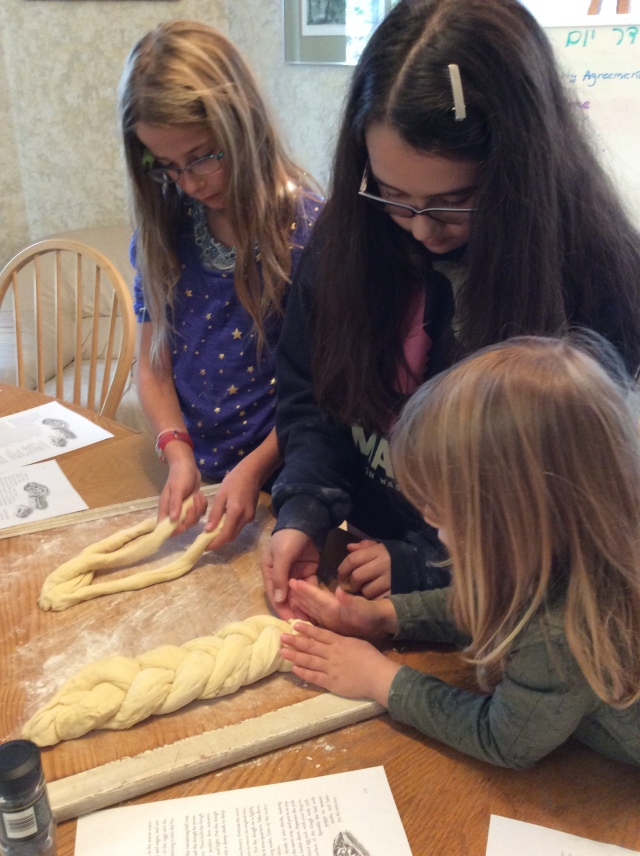 Jewish Culture School students making challah
